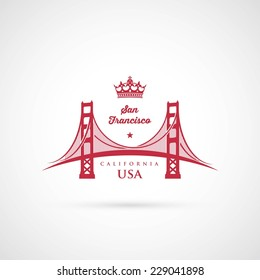 San Francisco Golden Gate bridge symbol - vector illustration