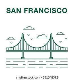 San Francisco Golden Gate Bridge Line Art Illustration