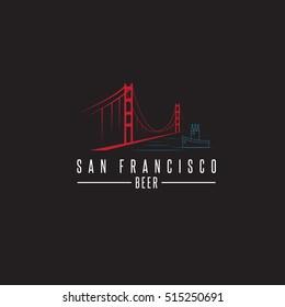 san francisco golden gate bridge with beer bottles and boat vector design template