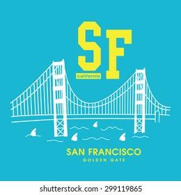 San Francisco Golden Gate illustration, t-shirt graphics, typography, vectors