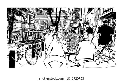 San Francisco, historic street and tramway - vector illustration