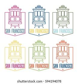 san francisco landmark tram line art vector design template