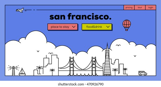 San Francisco Modern Web Banner Design with Vector Linear Skyline