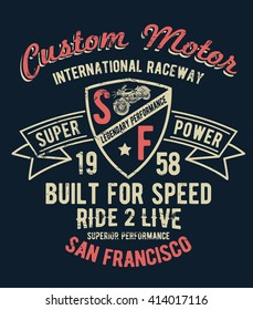 San Francisco motorcycle typography, t-shirt graphics, vectors.