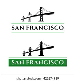 San Francisco - Oakland Bay Bridge vector illustration. California. San Francisco Business Center