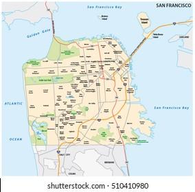 San Francisco road and neighborhood vector map