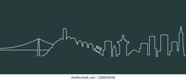 San Francisco Single Line Skyline