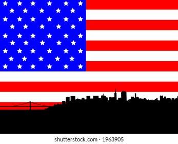 San Francisco skyline against American Flag