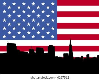 San Francisco skyline with American flag illustration
