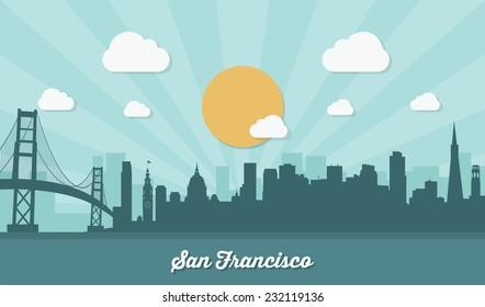 San Francisco skyline - flat design - vector illustration