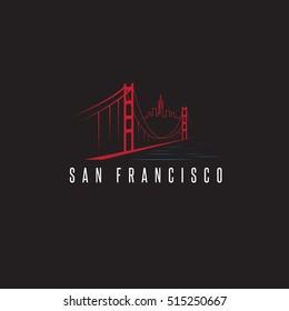 san francisco skyline and golden gate bridge vector design template illustration