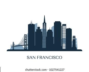 San Francisco skyline, monochrome silhouette. Vector illustration.