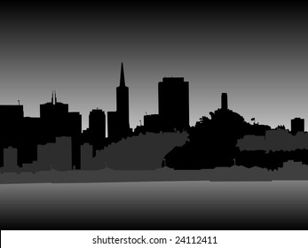 San Francisco Skyline at Night (vector)