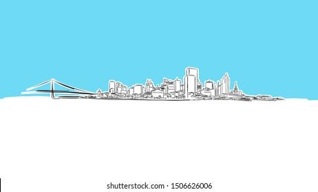 San Francisco Skyline Panorama Vector Sketch. Hand-drawn Illustration on blue background.
