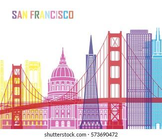San Francisco skyline pop in editable vector file