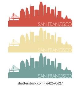 San Francisco Skyline Silhouette City Stamp Vector Color Vintage Set