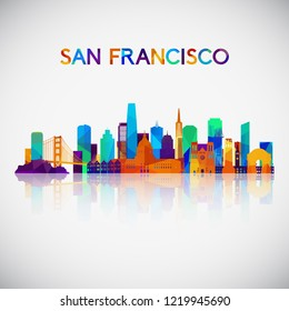 San Francisco skyline silhouette in colorful geometric style. Symbol for your design. Vector illustration.
