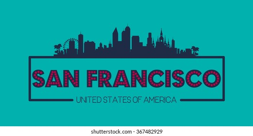 San Francisco skyline silhouette poster vector design illustration
