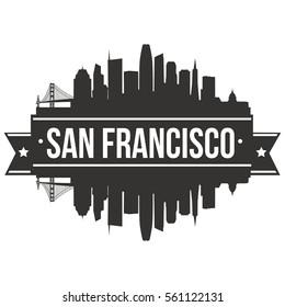 San Francisco Skyline Stamp Silhouette City