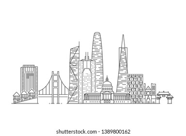 San Francisco  skyline, USA. Line art style illustration