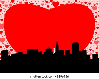 San Francisco skyline with valentines hearts illustration