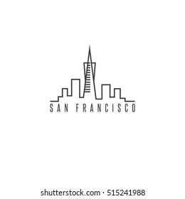 san francisco skyline vector design template illustration