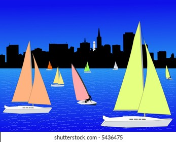 San Francisco skyline and yachts with colourful sails