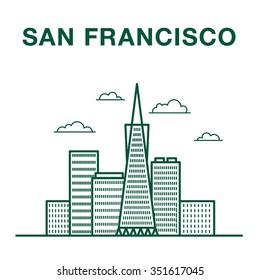 San Francisco Street with Famous Landmarks