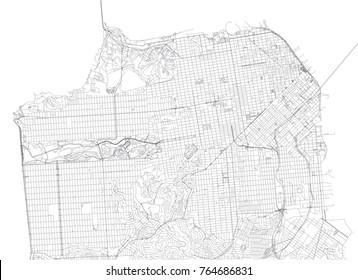 San Francisco Streets, City Map, United States, California. Street