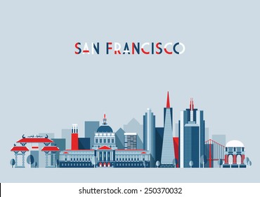 San Francisco (United States) city skyline vector background. Flat trendy illustration