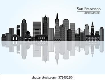 San Francisco (United States) city skyline. Vector illustration