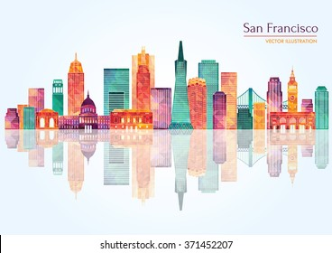 San Francisco (United States) city skyline. Vector illustration