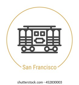San Francisco (United States) outline icon with caption. San Francisco City logo, landmark, vector symbol. San Francisco Cable Car. Illustration of San Francisco isolated on white background.