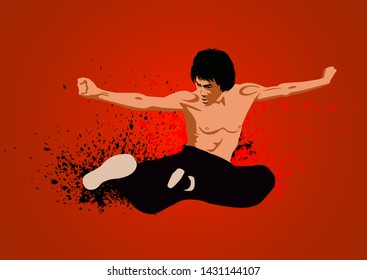 SAN FRANCISCO, USA - OCT 5, 2015: Bruce Lee at the Madame Tussauds museum in SF. It was open on June 26, 2014. Vector illustration.