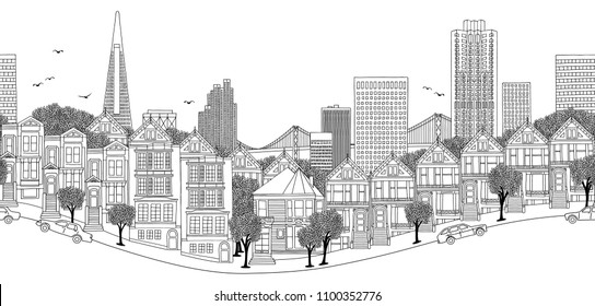 San Francisco, USA - seamless banner of the city's skyline, hand drawn black and white illustration