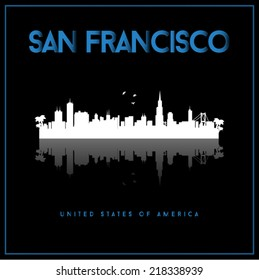San Francisco, USA skyline silhouette vector design on black background.
