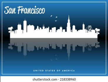 San Francisco, USA skyline silhouette vector design on parliament blue background.