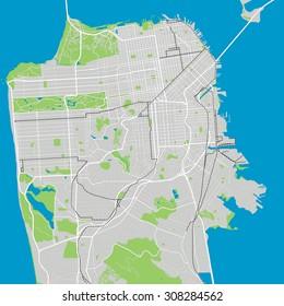 San Francisco vector map ultra detailed editable