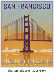 San Francisco vintage poster in orange and blue background with white skyline in editable vector file