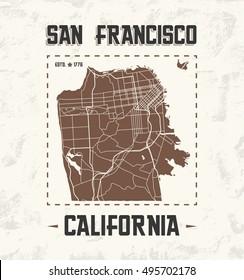 San Francisco vintage t-shirt graphic design with city map. Tee shirt print, typography, label, badge, emblem. Vector illustration.