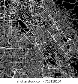 San Jose, California. Downtown vector map. City name on a separate layer. Art print template. Black and white.