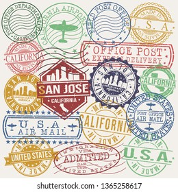 San Jose California Set of Stamps. Travel Stamp. Made In Product. Design Seals Old Style Insignia.