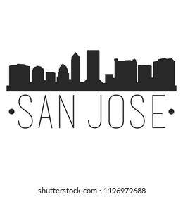 San Jose California Skyline Silhouette City Design Vector Famous Monuments
