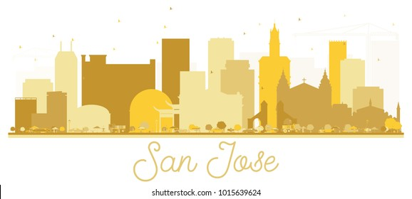San Jose California USA City Skyline Golden Silhouette. Vector Illustration. Simple Flat Concept for Tourism Presentation, Banner, Placard or Web Site. San Jose Cityscape with Landmarks.