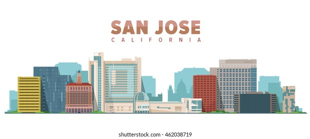 San Jose California vector illustration. Skyline city with main building. Tourism and business picture.