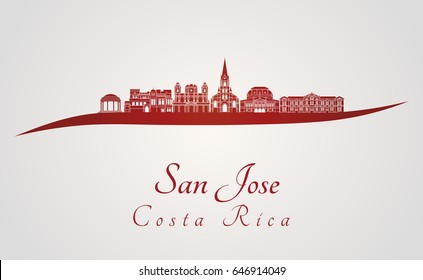 San Jose CR skyline in red and gray background in editable vector file