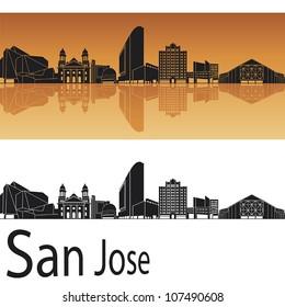 San Jose skyline in orange background in editable vector file