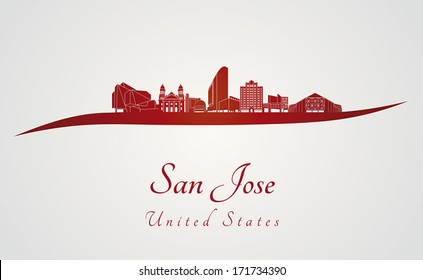 San Jose skyline in red and gray background in editable vector file