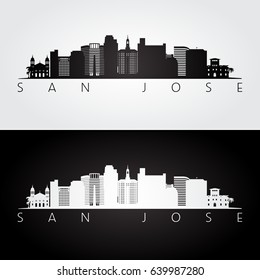 San Jose USA skyline and landmarks silhouette, black and white design, vector illustration.
