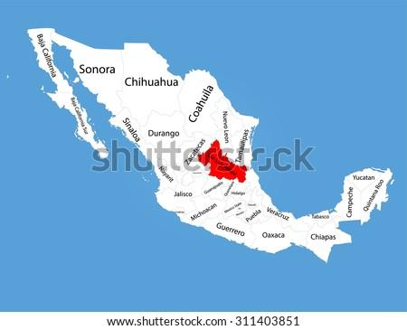 San Luis Potosi Mexico Vector Map Stock Vector Royalty Free